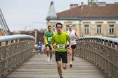 Participantes durante a maratona internacional de cracóvia — Fotografia Stock