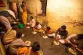 Unknown children during dinner — Stock Photo