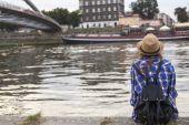 Girl on bank of Vistula River — Stock Photo