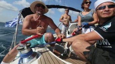 Sailing regatta on Aegean Sea. — Stock Video