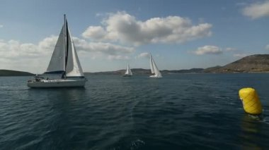 Sailboats participate in sailing regatta — Stock Video