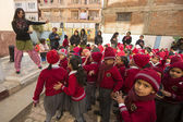 Pupils during dance lesson in Nepal — Stock Photo