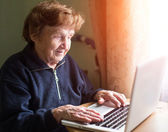 Grandmother works with a laptop. — Stock Photo
