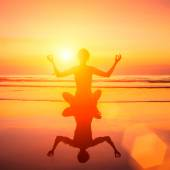 Silhouette of yoga woman — Stock Photo