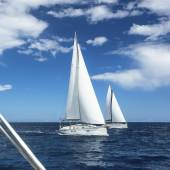 Sailboats participate in sailing regatta. — Stock Photo