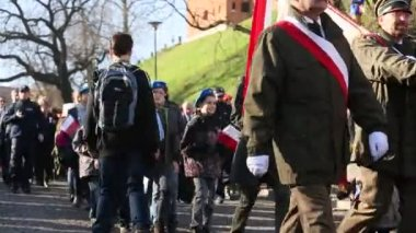 Participants celebrating National Independence Day an Republic of Poland - is a public holiday, celebrated every year from 1918 year. — Stok video