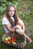 Girl with vegetables. — Stock Photo