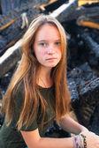 Girl near coals — Stock Photo