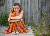 Young cute girl hippie — Stock Photo