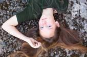 Young cute girl lying — Stock Photo