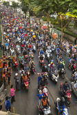 Motorcycle traffic jam in city — Stok fotoğraf
