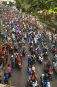 Motorcycle traffic jam in city — Stock Photo
