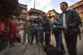 Unidentified employees Nepali TV — Stock Photo