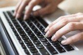 Fingers on the keyboard closeup — Stock Photo