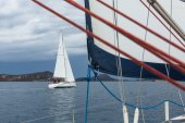 Sailboats participate in sailing regatta — Stock Photo