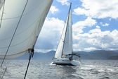 Sailing regatta in inclement weather. — Stock Photo
