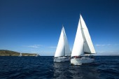 Unidentified sailboats regatta — Stock Photo