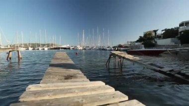 Marina Greek Andros island. — Stock Video