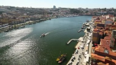 Top View of Douro river at center of Porto, Portugal. — Stock Video