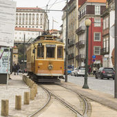 Tram on street of Porto — Stock Photo