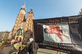 Účastníci protestu proti potratům — Stock fotografie