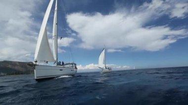 Boats in sailing regatta — Stock Video