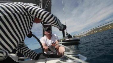 Sailors participate in  regatta  Greece — Stock Video