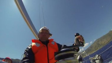 Sailors participate in regatta in Greece — Stock Video