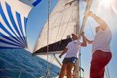 Sailors participate in  regatta  in Turkey — Stock Photo