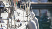 Rigging of sailing yacht — Stock Photo