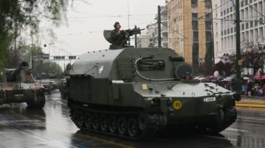 Military parade at national holiday — Stock Video