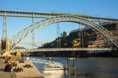 Famous Dom Luis I Bridge at Ribeira — Stock Photo