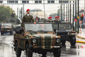 Participants and military equipment during Military parade — Stock Photo