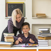 School Boy and his Tutor — Stock Photo
