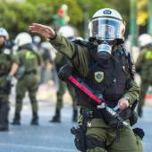 Clashed with riot police — Stock Photo