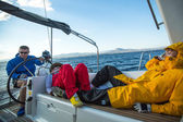 Unidentified sailors participate in sailing regatta — Stock Photo