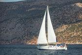 Sailboat participate in sailing regatta — Stock Photo