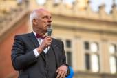 Janusz Korwin-Mikke is a liberal Polish politician — Stock Photo