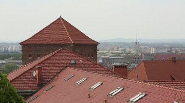 Roofs in the historic centre of Krakow. — Stock Video