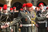 Military Band on main square of Krakow — Stock Photo