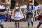 Polish folk collective on Main square — Stock Photo