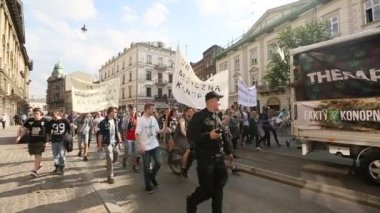 March For Cannabis Liberation in Krakow — Stock Video