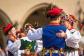 Polish folk collective on Main square — Foto de Stock