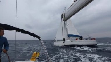 Clips set: Sailors participate in sailing regatta — Stock Video