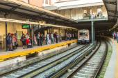 Urban metro station with subway train. — Stock Photo
