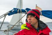 Sailor participate in sailing regatta — Stock Photo