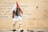 Greek soldier Evzone dressed in uniform — Stock Photo