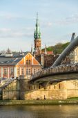 Vistula river, footbridge and Church St.Joseph — Stock Photo