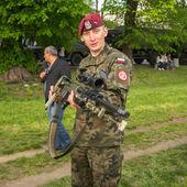 波兰士兵军事示威期间 — 图库照片