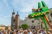 During the parade of dragons near St.Mary's Basilica — Stock Photo